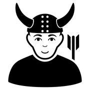 Horned Warrior Flat Vector Icon Stock Illustration