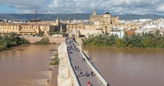 View on Puente Romano bridge from top in Cordoba Stock Footage