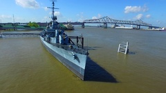 USS Kidd destroyer Baton Rouge louisiana travel tourism aerial drone  Stock Footage