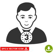 3rd Prizer Sportsman EPS Vector Icon Stock Illustration