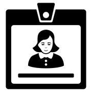 Woman Badge Flat Vector Icon Stock Illustration
