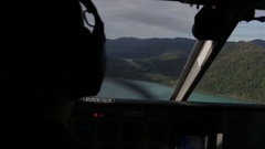 Pilot preparing small plane for landing over Whitsundays Stock Footage