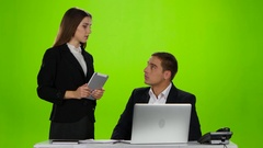 Headmistress praised his employee for the work done. Green screen Stock Footage
