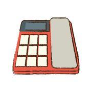 Red telephone communication talk conversation office sketch Stock Illustration