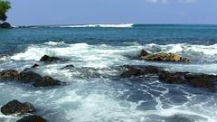 Ocean Waves With Black Lava Rocks Big Island Hawaii Stock Footage
