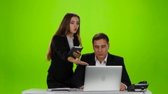 Worker man is justified in front of his boss woman Stock Footage