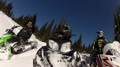 POV of a man riding on a snowmobile. Stock Footage