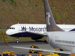 Madeira Airport. An Airliner Airbus A321 G-OZBH by Monarch Taxi 4K Stock Footage
