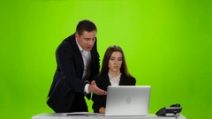 Worker woman is justified in front of his boss man Stock Footage