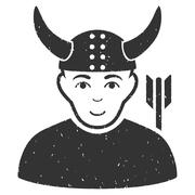 Horned Warrior Grainy Texture Icon Stock Illustration