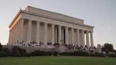 Lincoln Memorial during sunset with crowds of people, 4K Stock Footage