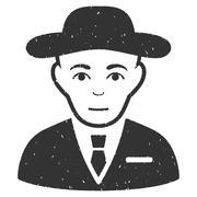 Secret Service Agent Grainy Texture Icon Stock Illustration