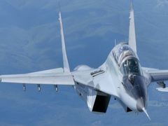 Two seater Combat Aircraft MiG 29 Fulcrum in Flight Air to Air Video 4K UltraHD Stock Footage