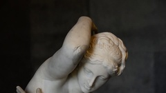A white marble statue in Napoleon's house in Portoferraio, Italy on the island o Stock Footage