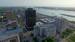 Dolly out of Baton Rouge skyline aerial Stock Footage