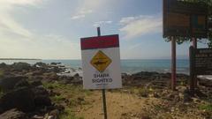Shark Attack Aerial. Maui Jib Up From Warning Shark Sighted Signage Stock Footage