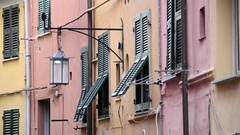 Windows and Shutters in Porto Venere, Liguria, Italy Stock Footage