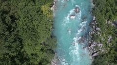 Aerial - Raging whitewater rapids and clear blue mountain stream Stock Footage