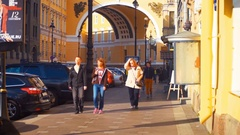 Tourists Near General Staff Arc in Saint Petersburg, Russia Stock Footage