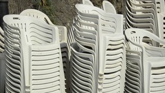 Chairs in Monterosso al Mare in the Cinque Terre region of Liguria, Italy Stock Footage