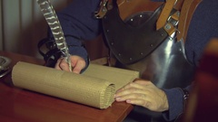 Middle ages medeivel writing law magna carter Stock Footage