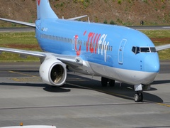 Airliner Turn and Parking at Air Station. Boeing 737 TUIfly Nordic at Madeira 4K Stock Footage