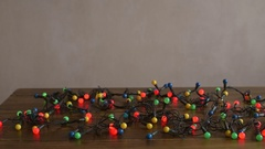 New Year decoration on a wooden table Stock Footage