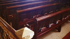 Wooden Pews in a Christian Church Stock Footage