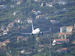 Airliner Landing Boeing B-737 Passenger Airplane by Jet2 Airport of Madeira 4K Stock Footage