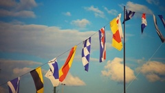 Colorful Flags at Neva Embankment St.petersburg, Russia Stock Footage