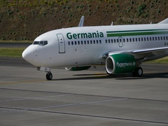 Funchal Airport. A Boeing 737-75B Next Generation D-AGEU by Germania Air Lines Stock Footage