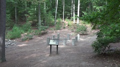 Remains of Henry David Thoreau's small hut in Walden Pond, MA. Stock Footage