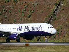 Madeira Airport Airbus A321 G-OZBH of Monarch Take Off 4k Ultra HD Stock Footage