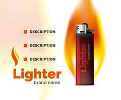 Vector lighter ad template with orange blaze Stock Illustration