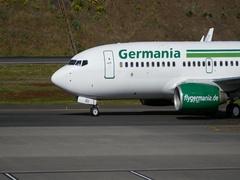 Funchal Airport Boeing 737-75B Next Gen of Germania Taxiing on the Runway 4K Stock Footage