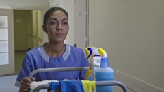 Housemaid Pushing Trolley at Shift Stock Footage