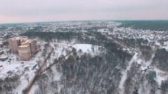 Aerial hill near soviet buildings at winter Stock Footage