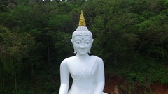 Aerial View of White Buddha Statue Outdoors Stock Footage