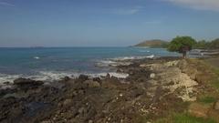 Tropical Beach Road and Island. Maui Jib Up Molokini & Big Beach In Distance Stock Footage