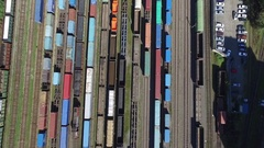 Aerial port rail road drone view Stock Footage