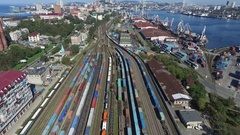Aerial port rail road Stock Footage