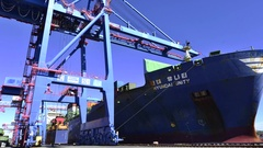 Hyundai Container ship handling timelapse Stock Footage