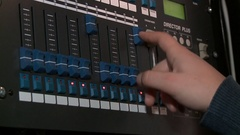 Professional audio console/hand pull the sliders up and down HD Stock Footage