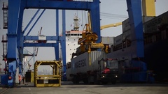 Maersk containers loaded operation Stock Footage