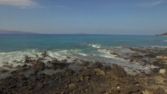 Tropical Beach and IslandMaui Jib Up Lava Rocks & Ocean Molokini in Distance Stock Footage