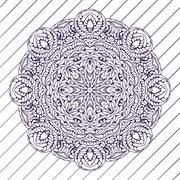 Motif floral pattern mandala drawn with a pen. blue and white. Stock Illustration