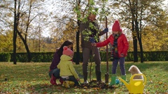 Family Planting Tree Together Stock Footage