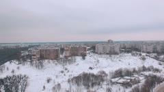 Aerial socialist soviet panel buildings at winter Stock Footage
