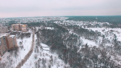 Aerial hill near socialist buildings at winter Stock Footage
