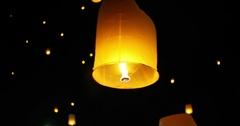 Floating Lanterns in Night Sky. Yi Peng Festival, Chiangmai, Thailand. Stock Footage
